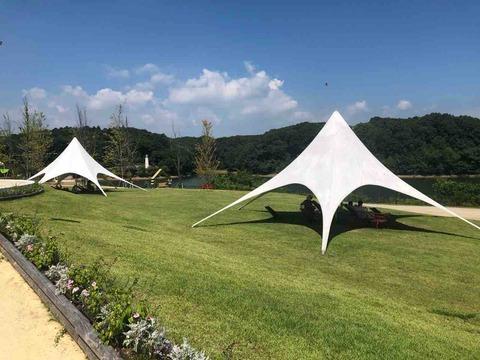 芝生に真っ白なテント