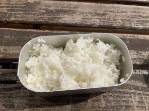 飯盒でお米を美味しくいただきました
